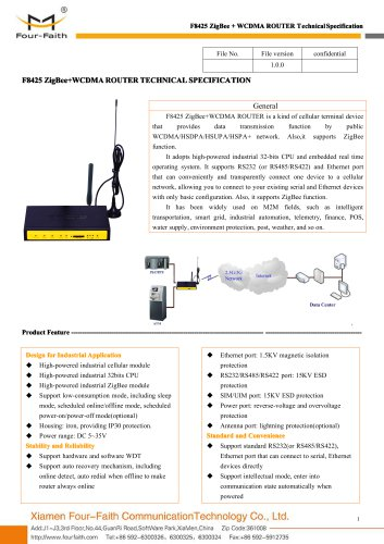 F8425 ZigBee+WCDMA ROUTER SPECIFICATION