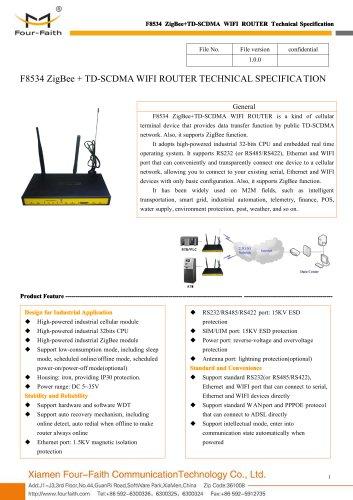 F8534 ZigBee+TD-SCDMA WIFI ROUTER SPECIFICATION