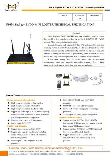 F8634 ZigBee+EVDO WIFI ROUTER SPECIFICATION