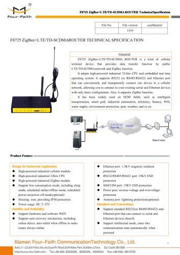 F8725 ZigBee+LTE&TD-SCDMA ROUTER SPECIFICATION