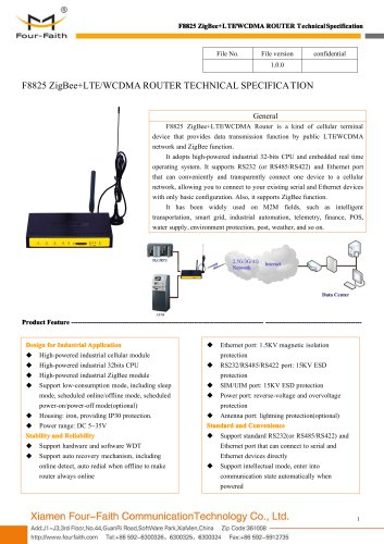 F8825 ZigBee+LTE&WCDMA ROUTER SPECIFICATION
