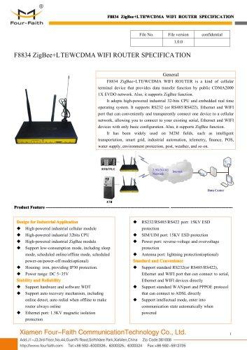 F8834 ZigBee+LTE&WCDMA WIFI ROUTER SPECIFICATION