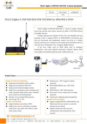 F8A25 ZigBee+LTE&EVDO ROUTER SPECIFICATION