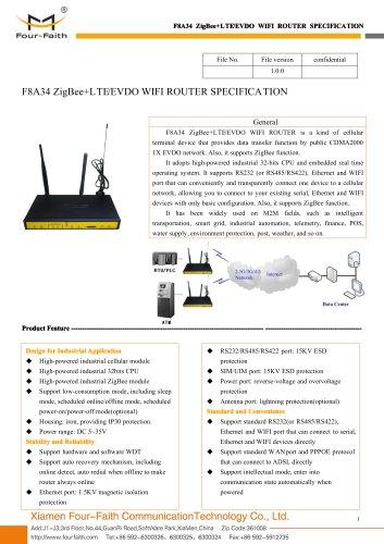 F8A34 ZigBee+LTE&EVDO WIFI ROUTER SPECIFICATION