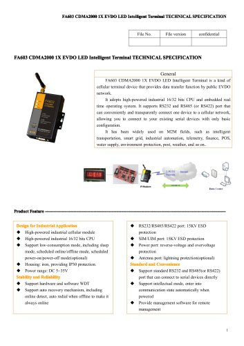 FA603 CDMA2000 1X EVDO LED Intelligent Terminal
