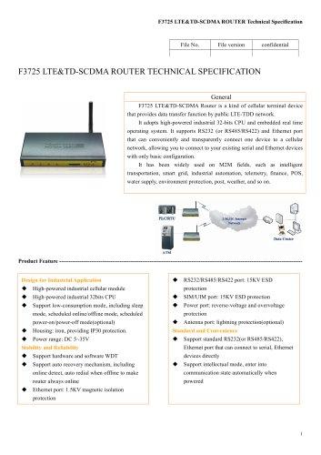 LTE/TD-SCDMA Industrial Wireless ROUTE F3725