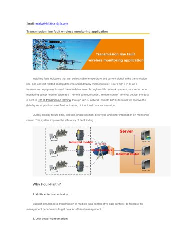 Transmission line fault wireless monitoring application