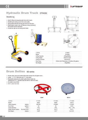 i-Lift/Hu-Lift Drum Dolly SD for Drum Transport
