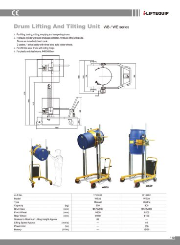 i-Lift/Hu-Lift Drum Lifting and Tilting Unit WB/WE