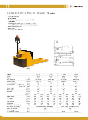 i-Lift/Hu-Lift Semi-electric pallet truck SE15