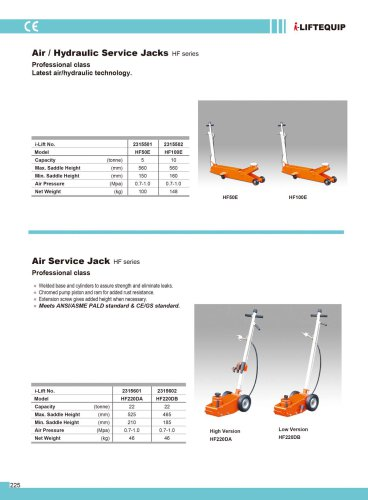 MATERIAL HANDLING EQUIPMENT/I-LIFT/AIR SERVICE JACK/HF220 SERIES