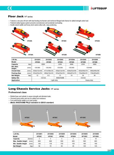 MATERIAL HANDLING EQUIPMENT/I-LIFT/LONG CHASSIS SERVICE JACKS/HF C/H SERIES