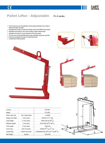 MATERIAL HANDLING EQUIPMENT/I-LIFT/PALLET LIFTER-ADJUSTABLE/PL-A SERIES