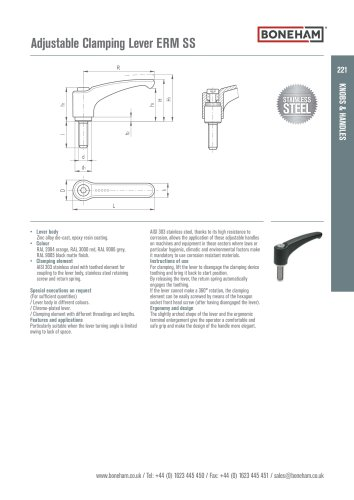 Adjustable Clamping Lever ERM SS