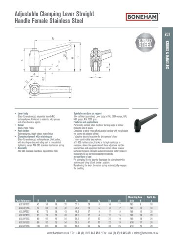 Adjustable Clamping Lever Straight