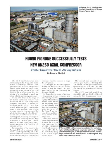 NUOVO PIGNONE SUCCESSFULLY TESTS NEW AN250 AXIAL COMPRESSOR