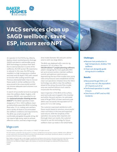 VACS services clean up SAGD wellbore, saves ESP, incurs zero NPT