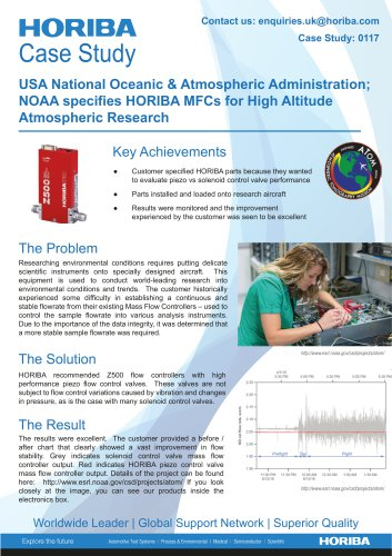 USA National Oceanic & Atmospheric Administration; NOAA specifies HORIBA MFCs for High Altitude Atmospheric Research