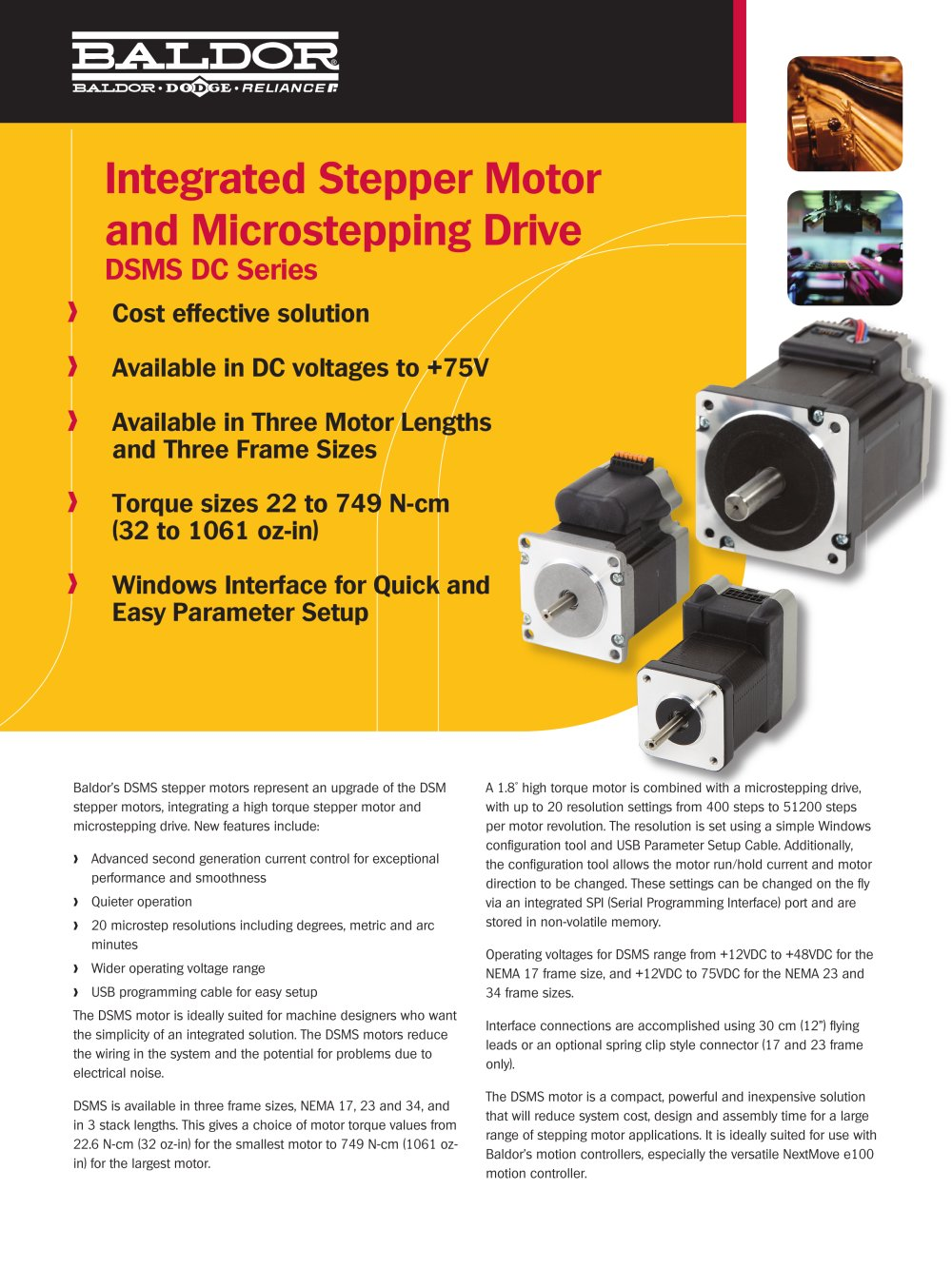 Baldor Dsms Integrated Stepper Motor And Drive Electric Motors 1 4 Pages