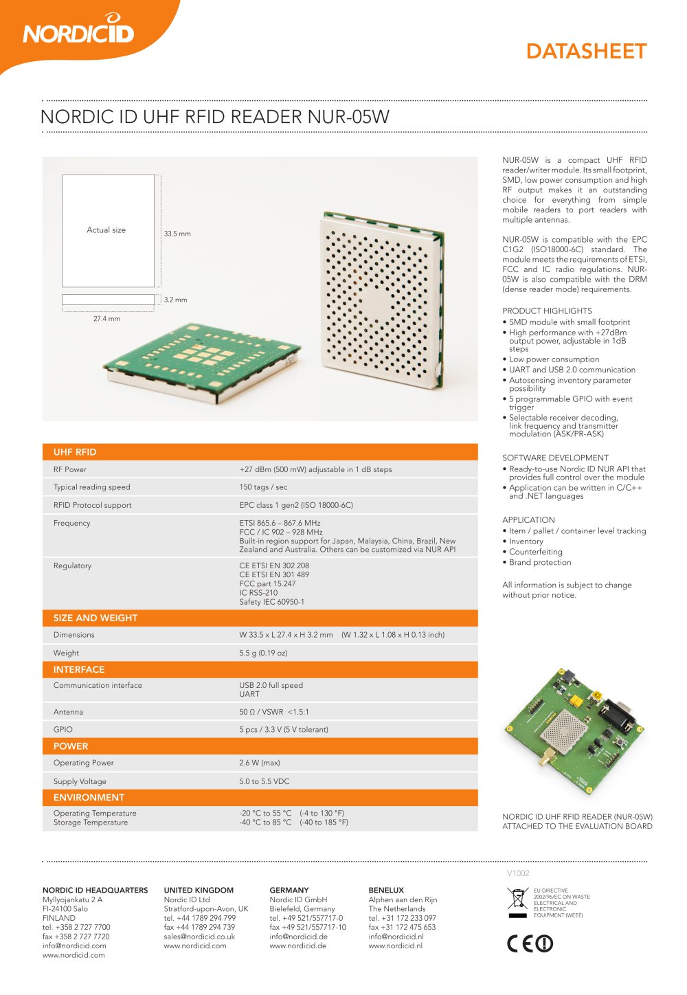 Nordic Id Uhf Rfid Reader Nur 05w Pdf Catalogue Ic 1 Pages