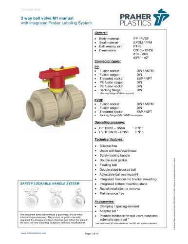 2 way ball valve M1 manual with integrated Praher Labeling System