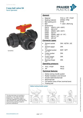 3 way ball valve S4 hand operated