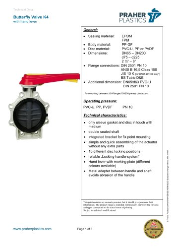 Butterfly Valve K4 with hand lover