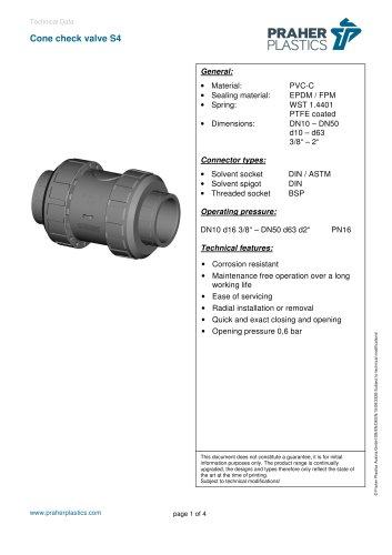 Cone check valve S4