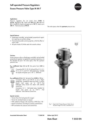 Excess Pressure Valve Type M 44-7