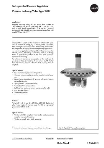 Pressure Reducing Valve Type 2407