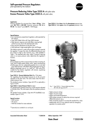 Self-operated Pressure Regulators · Pilot-operated by the process medium · Type 2333 A Pressure