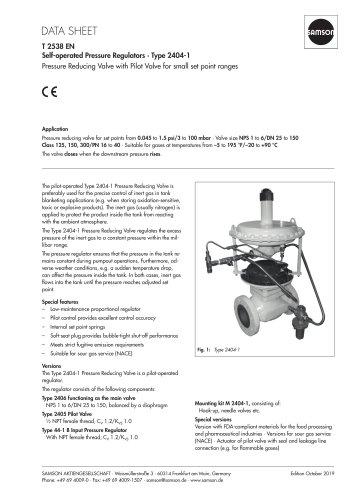 Self-operated Pressure Regulators · Type 2404-1