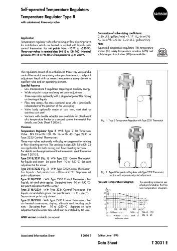 Self-operated Temperature Regulators Temperature Regulator Type 8