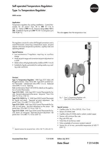 Self-operated Temperature Regulators Type 1u Temperature Regulator