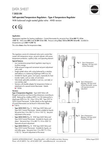 Self-operated Temperature Regulators · Type 4 Temperature Regulator