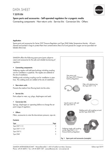Spare parts and accessories · Self-operated regulators for cryogenic media