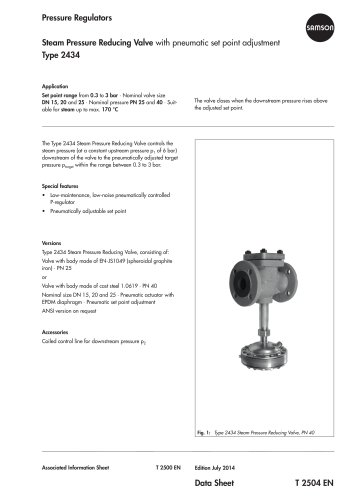 Steam Pressure Reducing Valve with pneumatic set point adjustment Type 2434