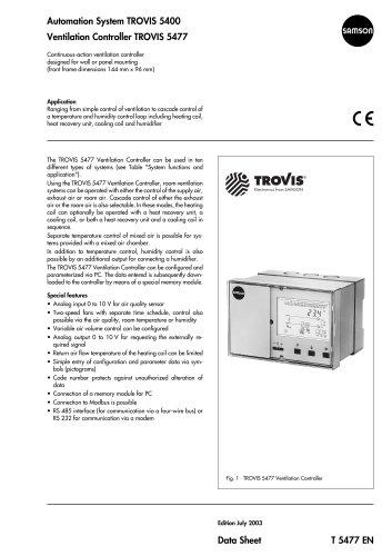 TROVIS 5400 TROVIS 5477 Ventilation Controller
