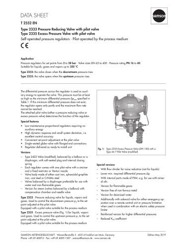 Type 2333 Pressure Reducing Valve with pilot valve Type 2335 Excess Pressure Valve with pilot valve