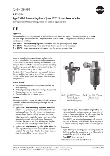 Type 2357-1 Pressure Regulator · Types 2357-2 Excess Pressure Valve