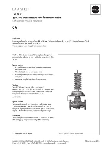 Type 2375 Excess Pressure Valve for corrosive media