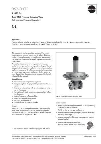 Type 2405 Pressure Reducing Valve