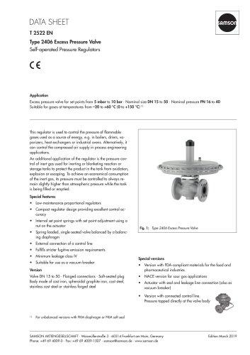 Type 2406 Excess Pressure Valve