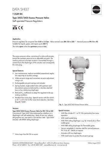 Type 2422/2425 Excess Pressure Valve