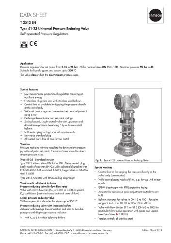 Type 41-23 Universal Pressure Reducing Valve