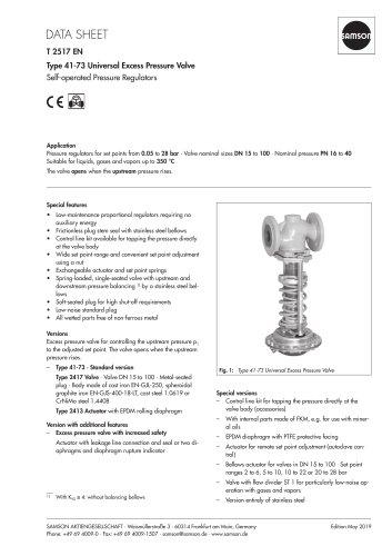 Type 41-73 Universal Excess Pressure Valve