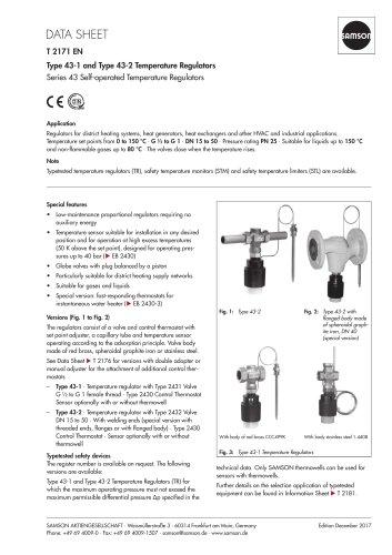 Type 43-1 and Type 43-2 Temperature Regulators