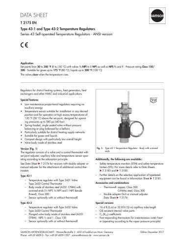 Type 43-1 and Type 43-2 Temperature Regulators Series 43 Self-operated Temperature Regulators