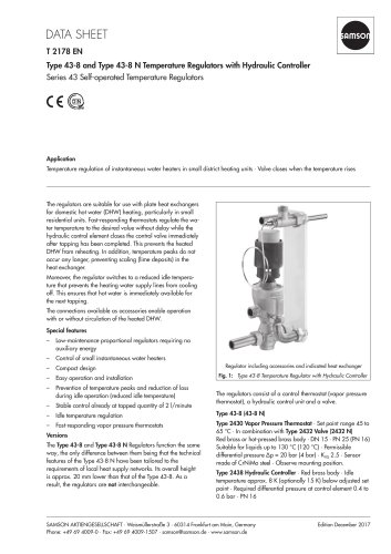 Type 43-8 and Type 43-8 N Temperature Regulators with Hydraulic Controller
