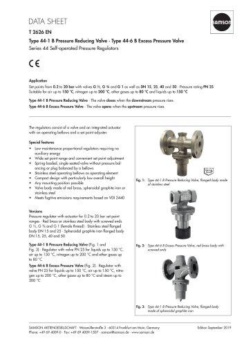 Type 44-1 B Pressure Reducing Valve · Type 44-6 B Excess Pressure Valve